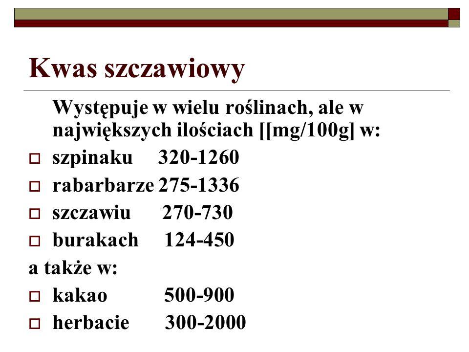 Kwas szczawiowy Występuje w wielu roślinach, ale w największych ilościach [[mg/100g] w: szpinaku 320-1260.